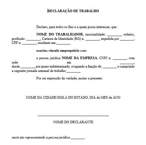 Modelo de declaração de trabalho autônomo - PDF e Word