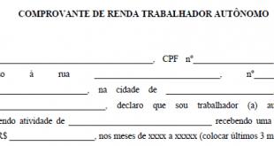 Comprovante de Renda Autônomo (doc e pdf)